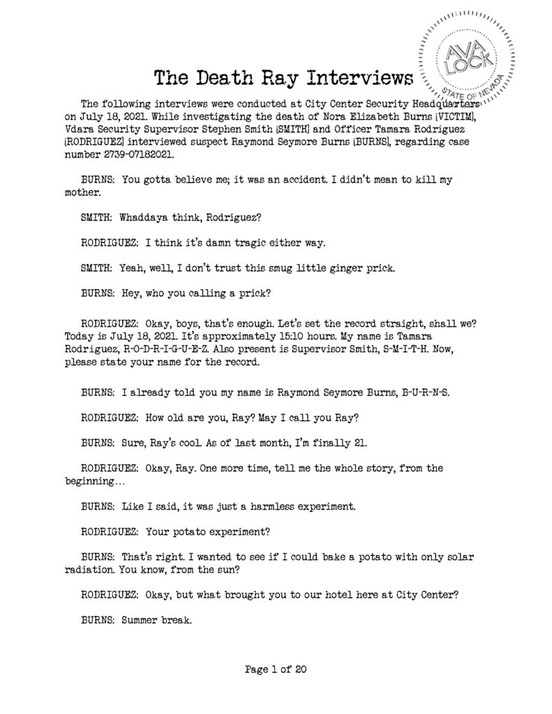 The Death Ray Interviews (Page 1)